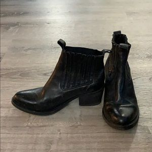 All Saints Black Leather Booties Size 38